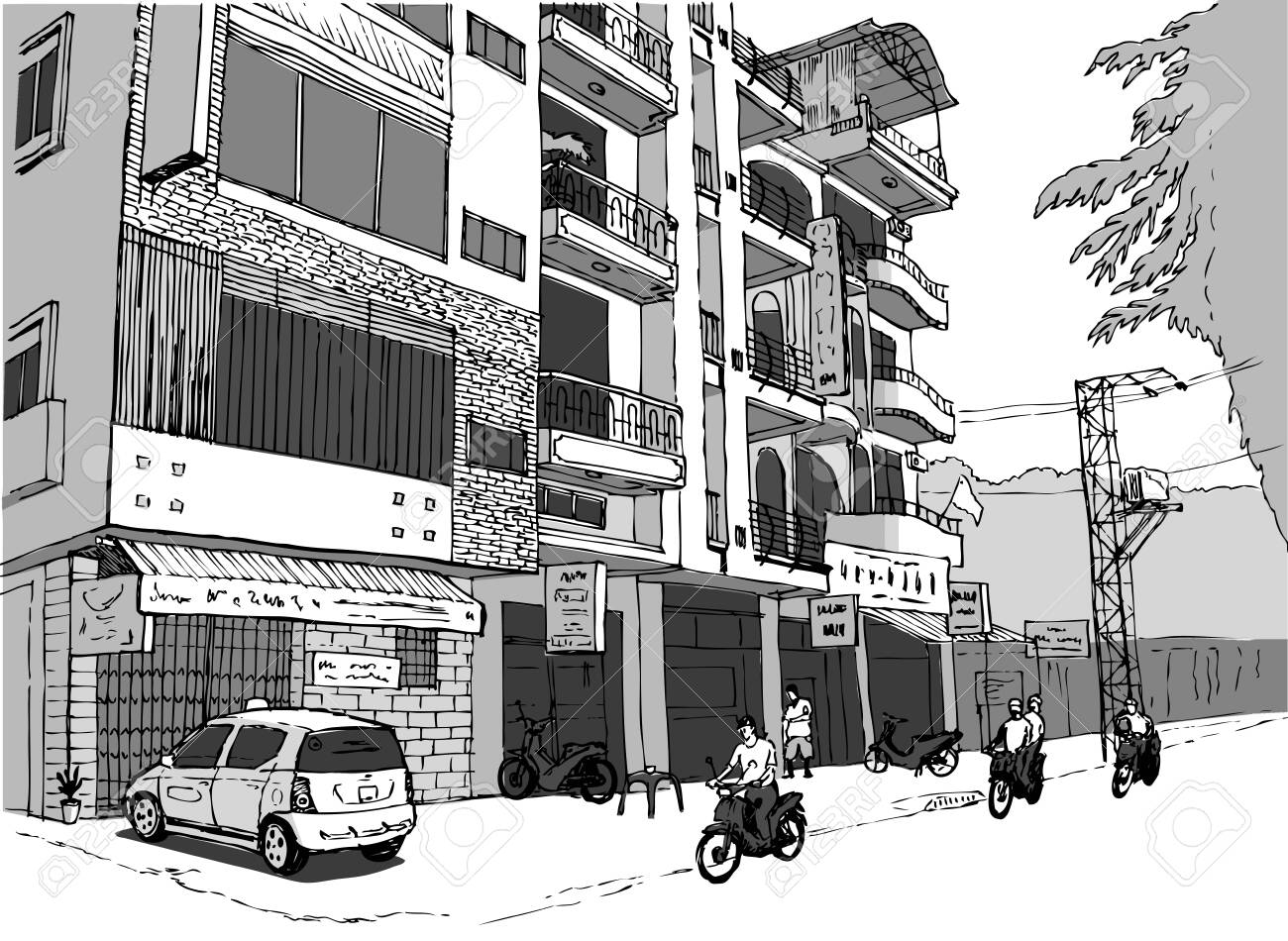 small shopping street in Vietnam, people on scooters, gray color scheme - 157039887