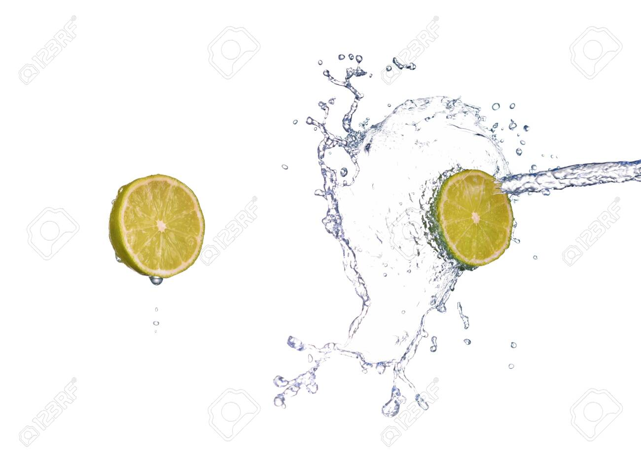 lime in spray of water. lime cucumber with splash on background - 148511124