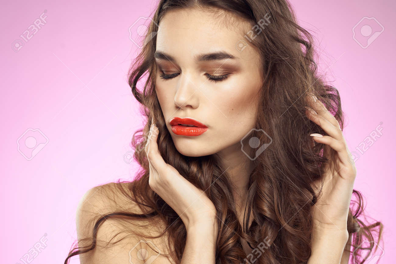 Woman with hairstyle and red lips shoulders bright makeup attractive look - 158206891