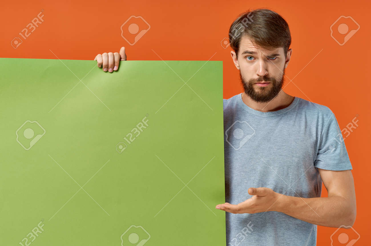 emotional man t shirts green mockup poster presentation marketing - 163198222