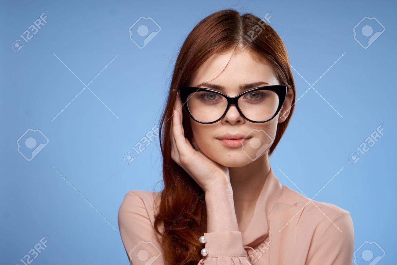beautiful woman charm hand near face glasses studio attractiveness - 166999933