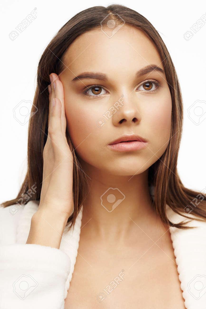 Woman in white coat clean skin health close-up - 168366717