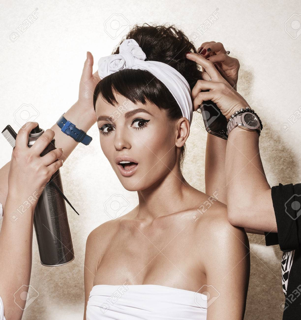 Backstage Photo Bridal Rituals Before Wedding Beautiful Brunette