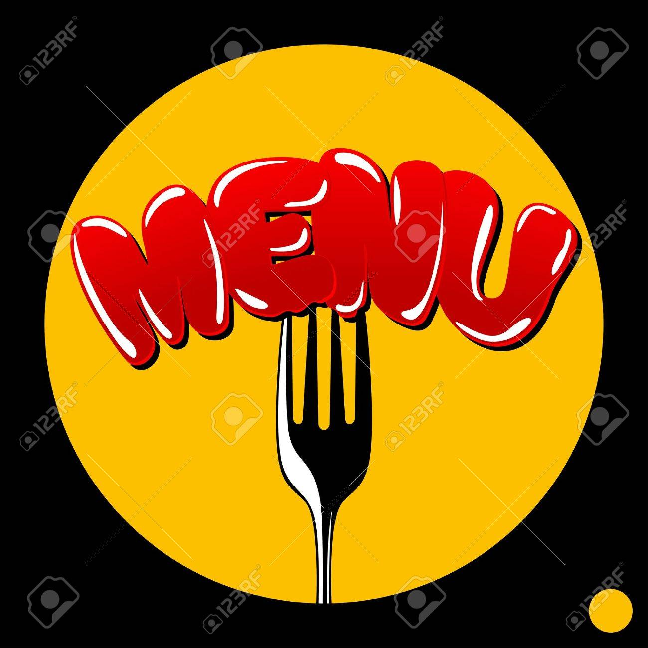 Template menu  cover the restaurant menu  - the word  menu  punctured with a fork Stock Vector - 14338273