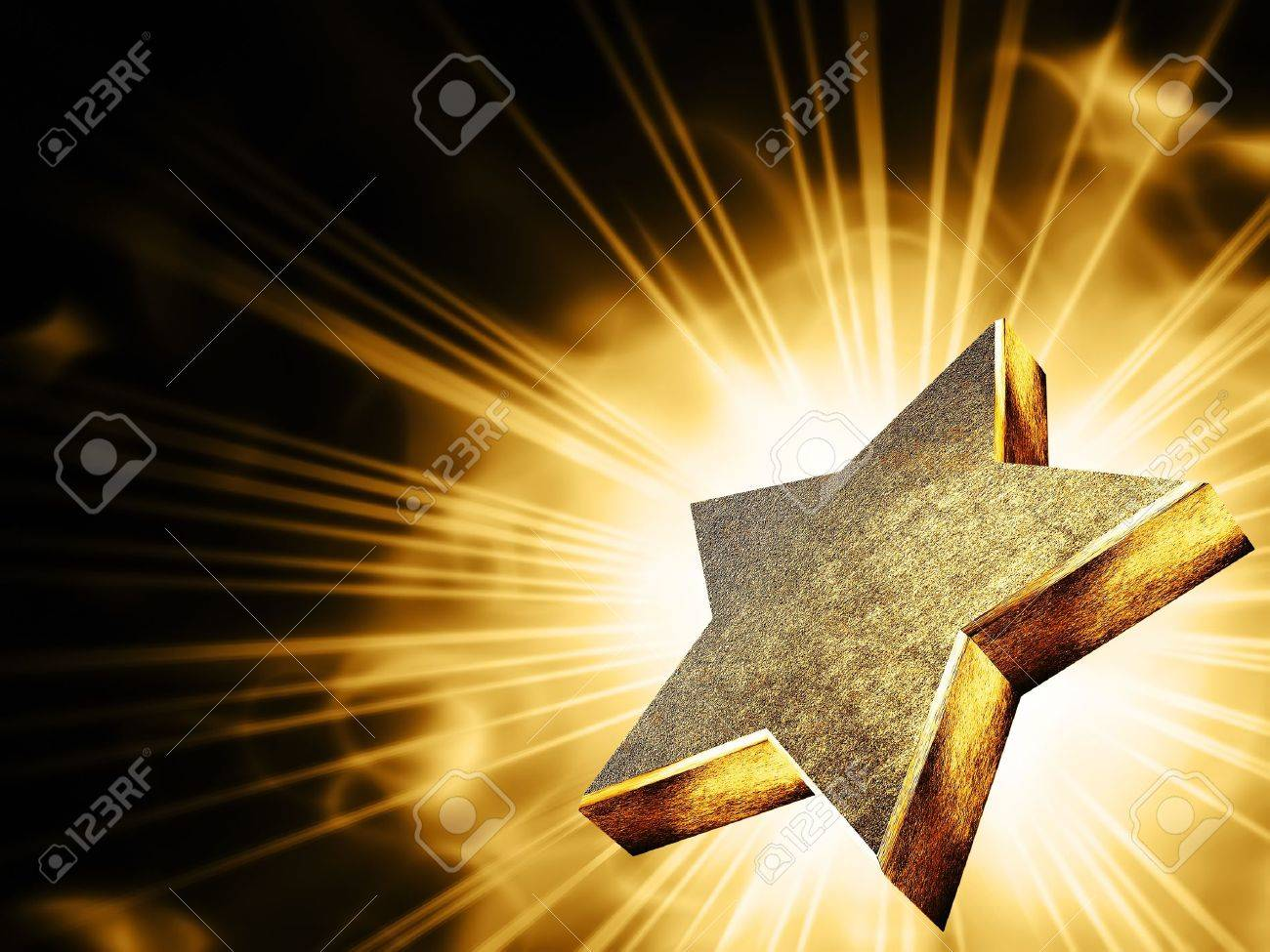 A gold star in the rays of light Stock Photo - 14636480