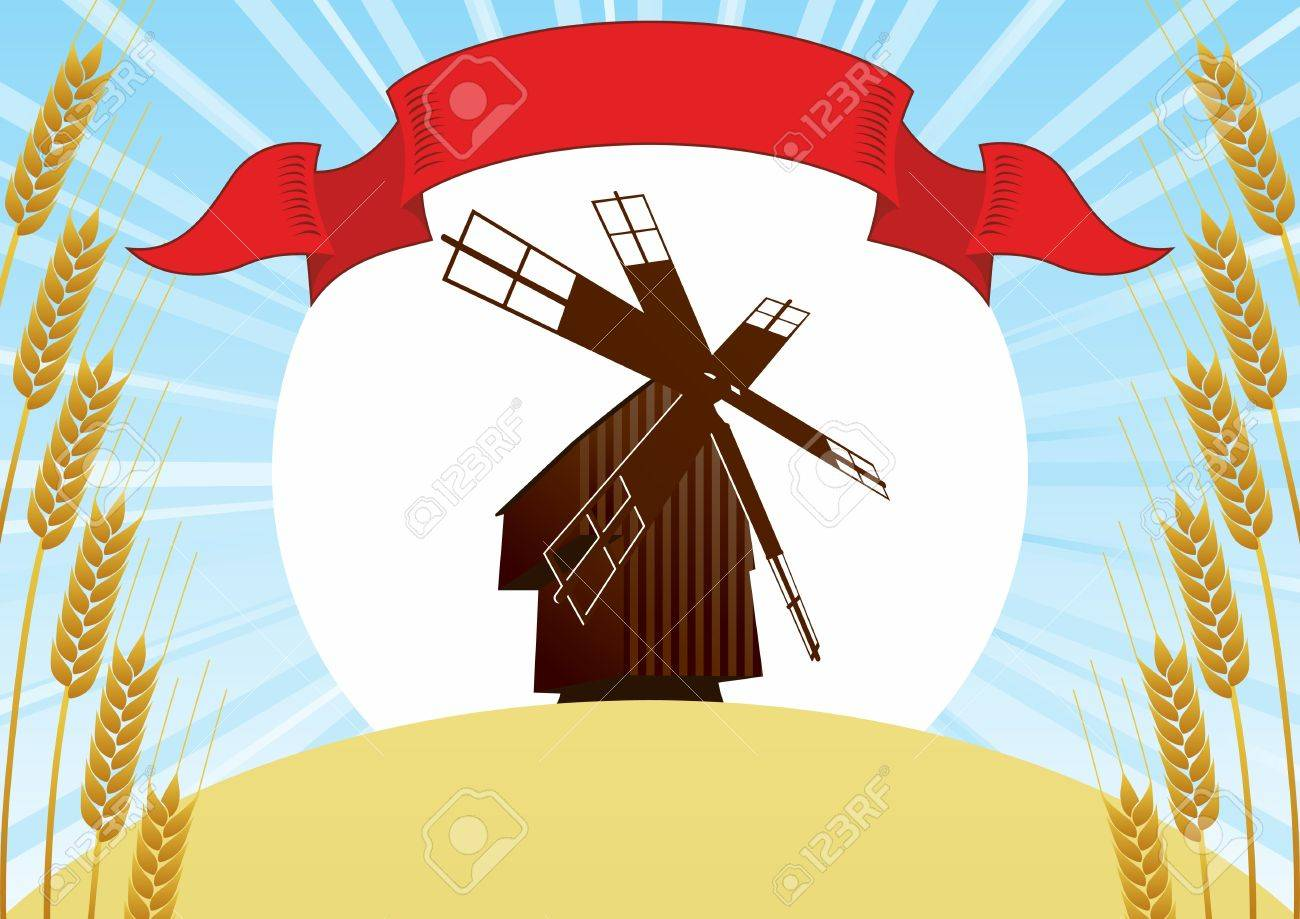 Mill on the background of the wheat fields and wheat ears, sun and blue sky Stock Vector - 14636244