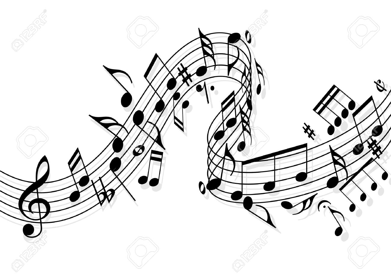 Musical notes flying over the stave Stock Vector - 14636306