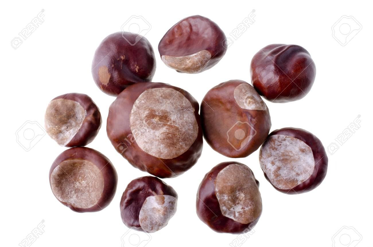A handful of chestnuts, isolated over white Stock Photo - 17101854