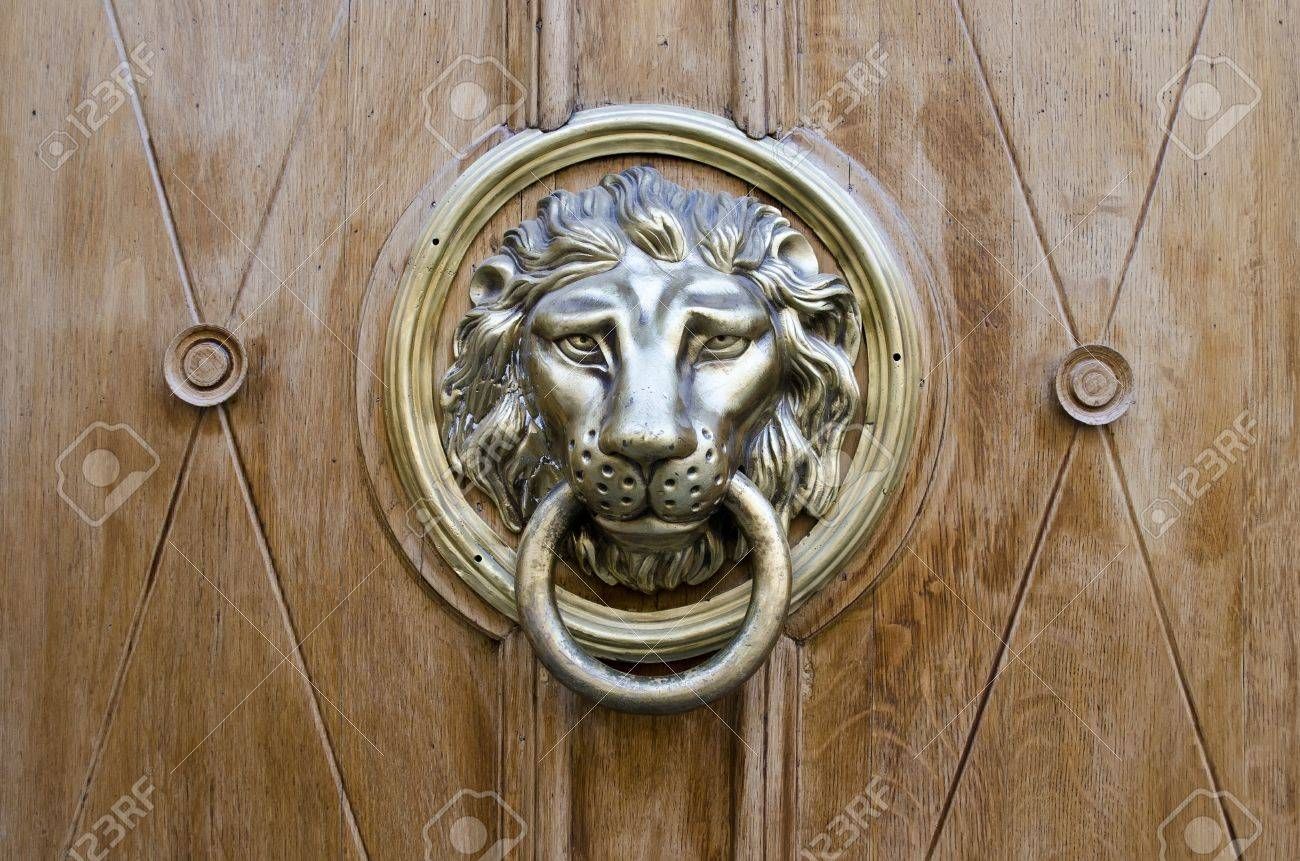 Beau Stock Photo   The Door Handle In The Shape Of A Golden Lion