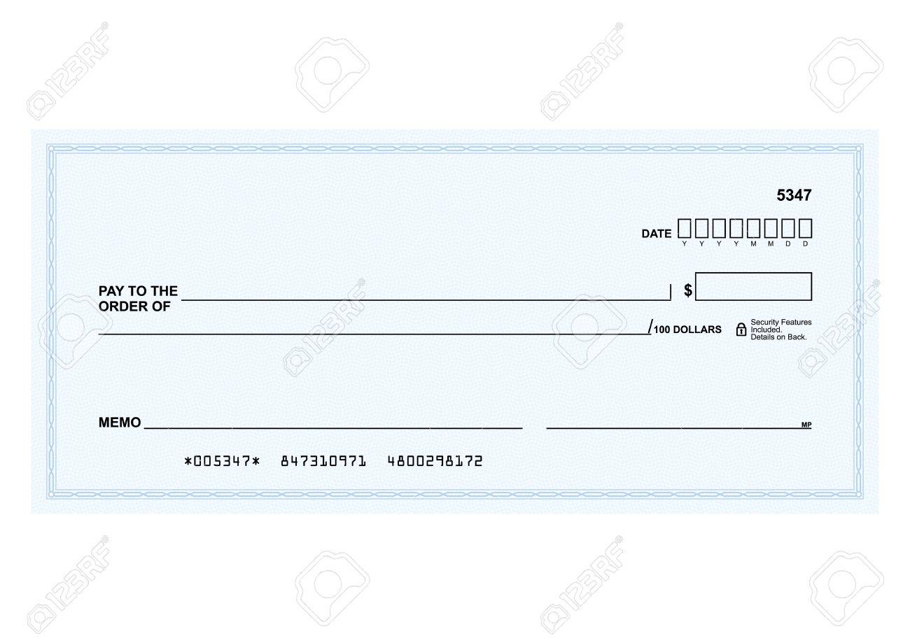 Modele Dans Le Vecteur Le Formulaire Vierge D Un Cheque Bancaire
