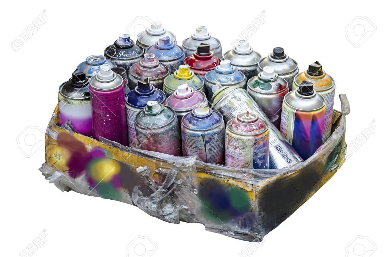 Spray Cans Of Aerosol Paint For Graffiti In A Cardboard Box Isolated On A White