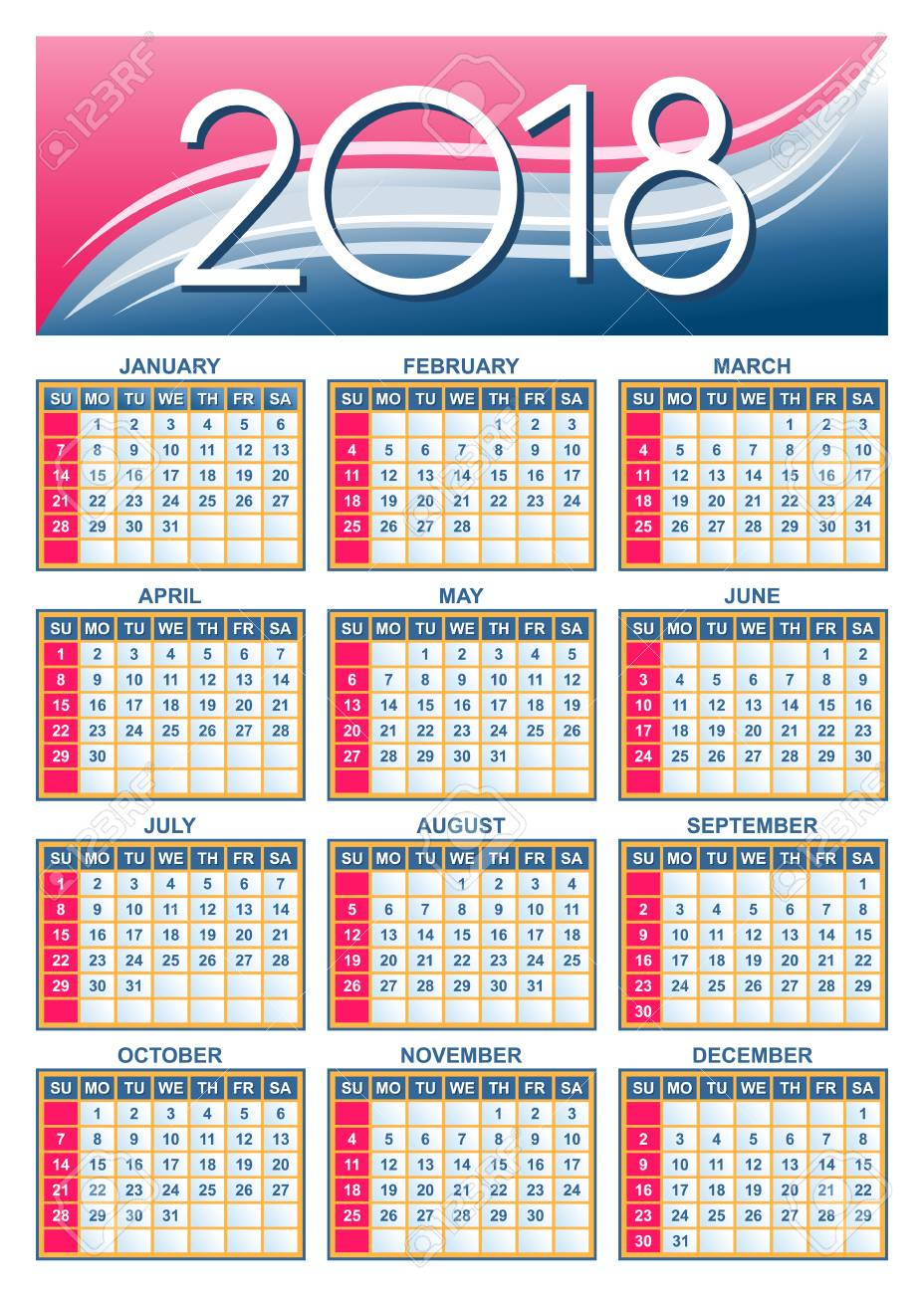 Template Usa American Calendar Grid 2018 In Vector Royalty Free