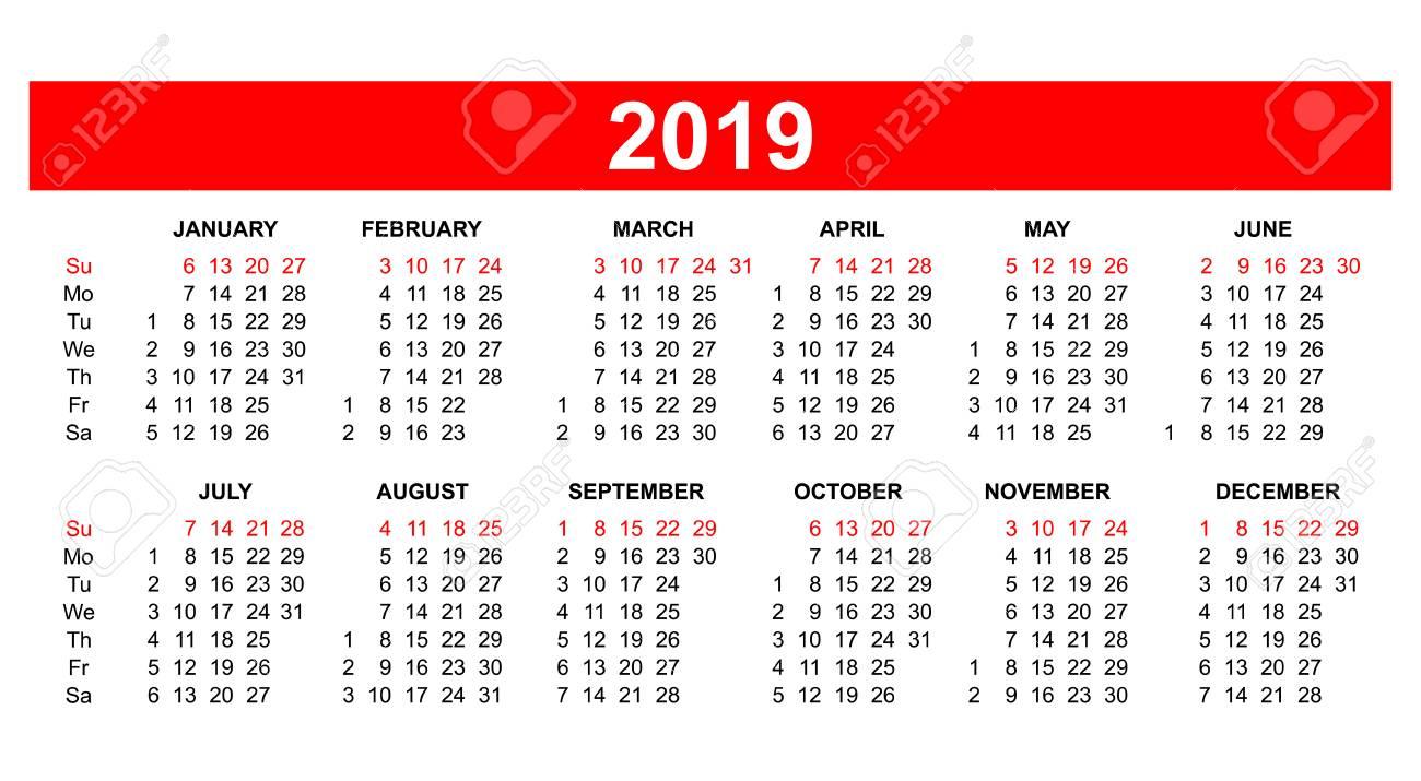 American 2019 Calendar Template   USA (American) Calendar Grid 2019 In Vector. Royalty