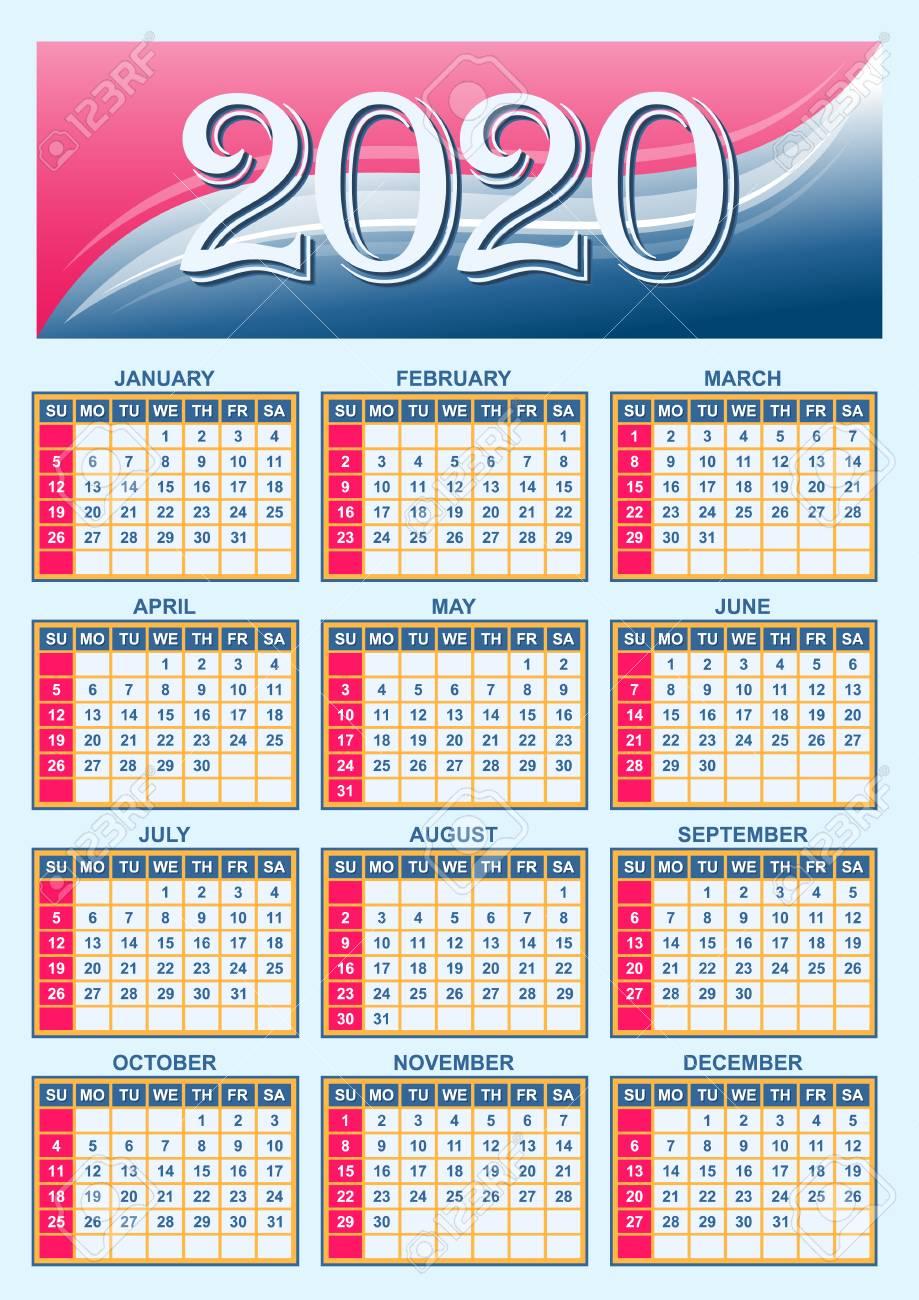 American Calendar 2020 Template   American Calendar Grid 2020 In Vector Royalty Free
