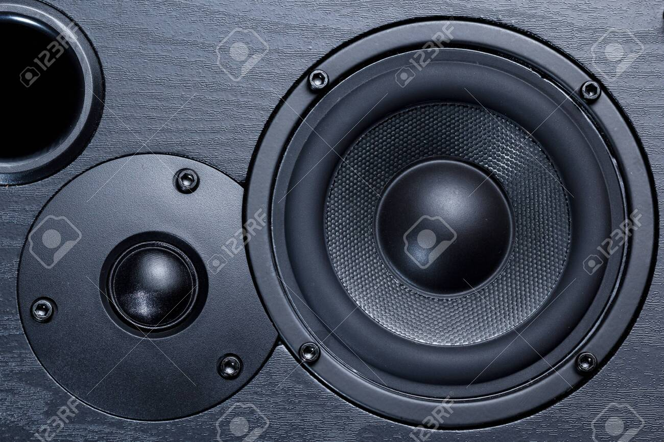 black speaker with bass and treble speakers - 145987353