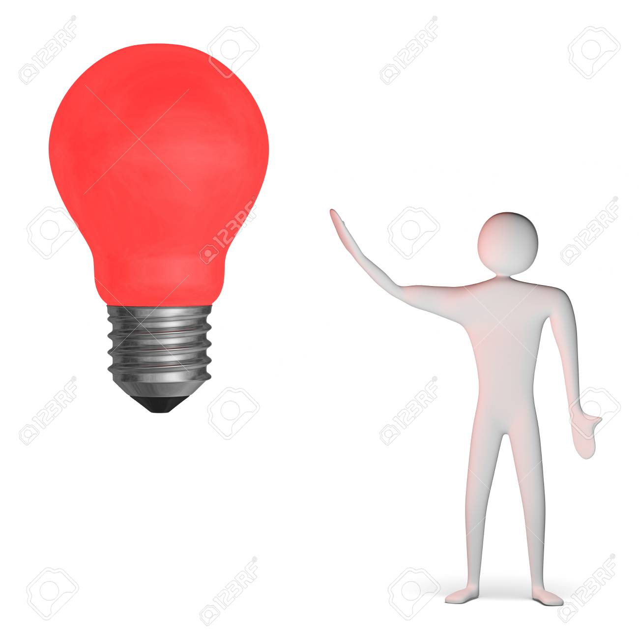 3d man and big red glowing light bulb isolated on white Stock Photo - 28093460