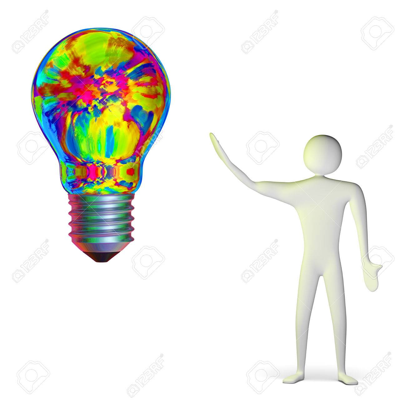 3d man and bright big multicolor light bulb isolated on white Stock Photo -  28093466