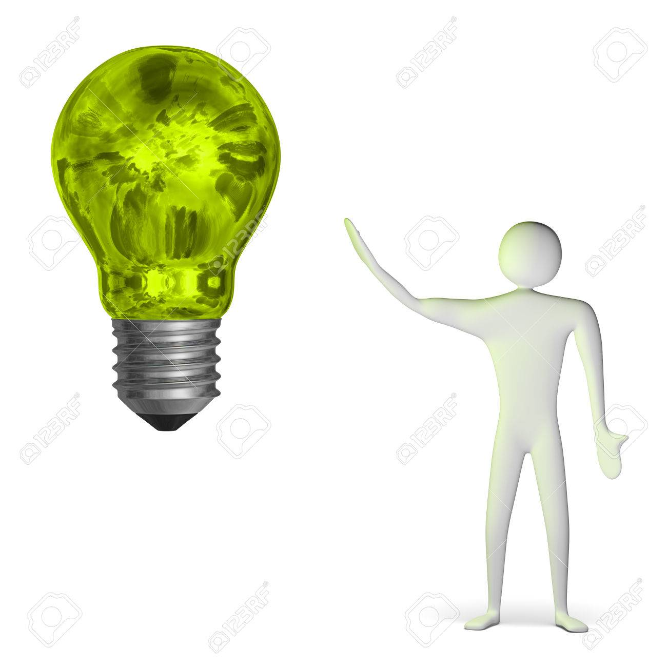 3d man and big weird glowing green light bulb isolated on white Stock Photo - 28093469