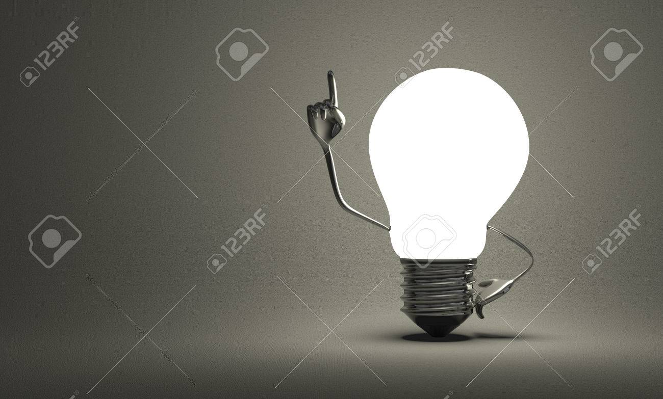 Glowing light bulb character with big metallic hands in moment of insight on gray textured background - 29763921
