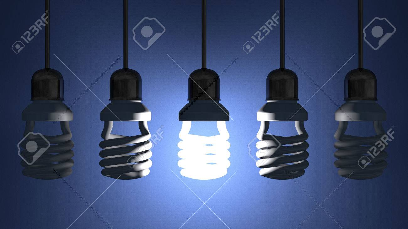Glowing fluorescent light bulb hanging in socket on wire among switched off ones on blue textured background - 30335673