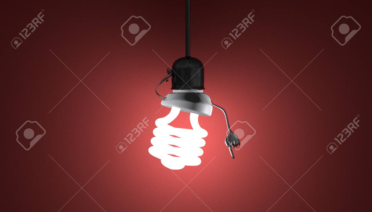 Glowing Fluorescent Light Bulb Character In Lamp Socket On Wire Wiring A Moment Of Insight Red