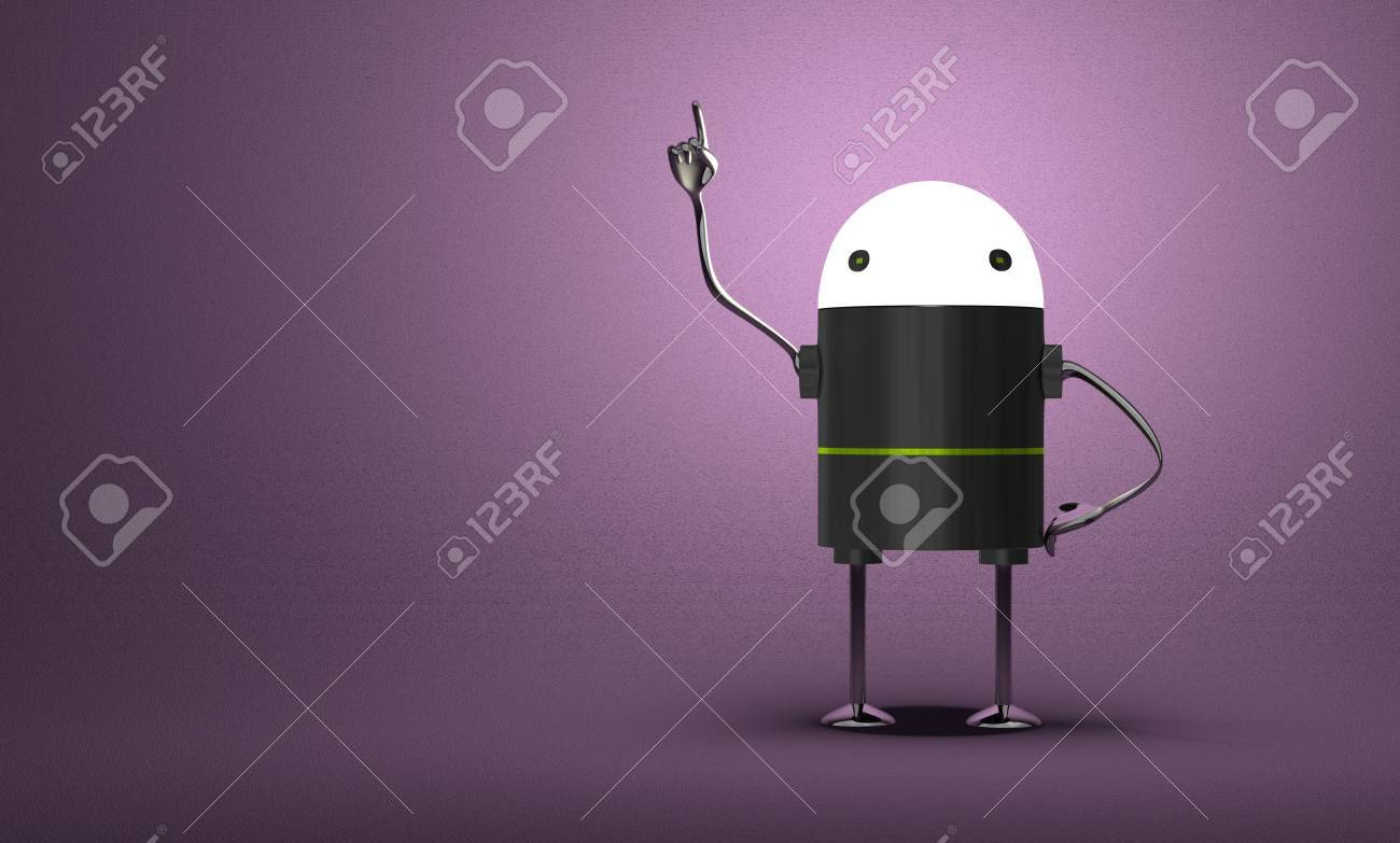 Robot with glowing head, black plastic body, metallic arms and legs in moment of insight on violet textured background - 30588285