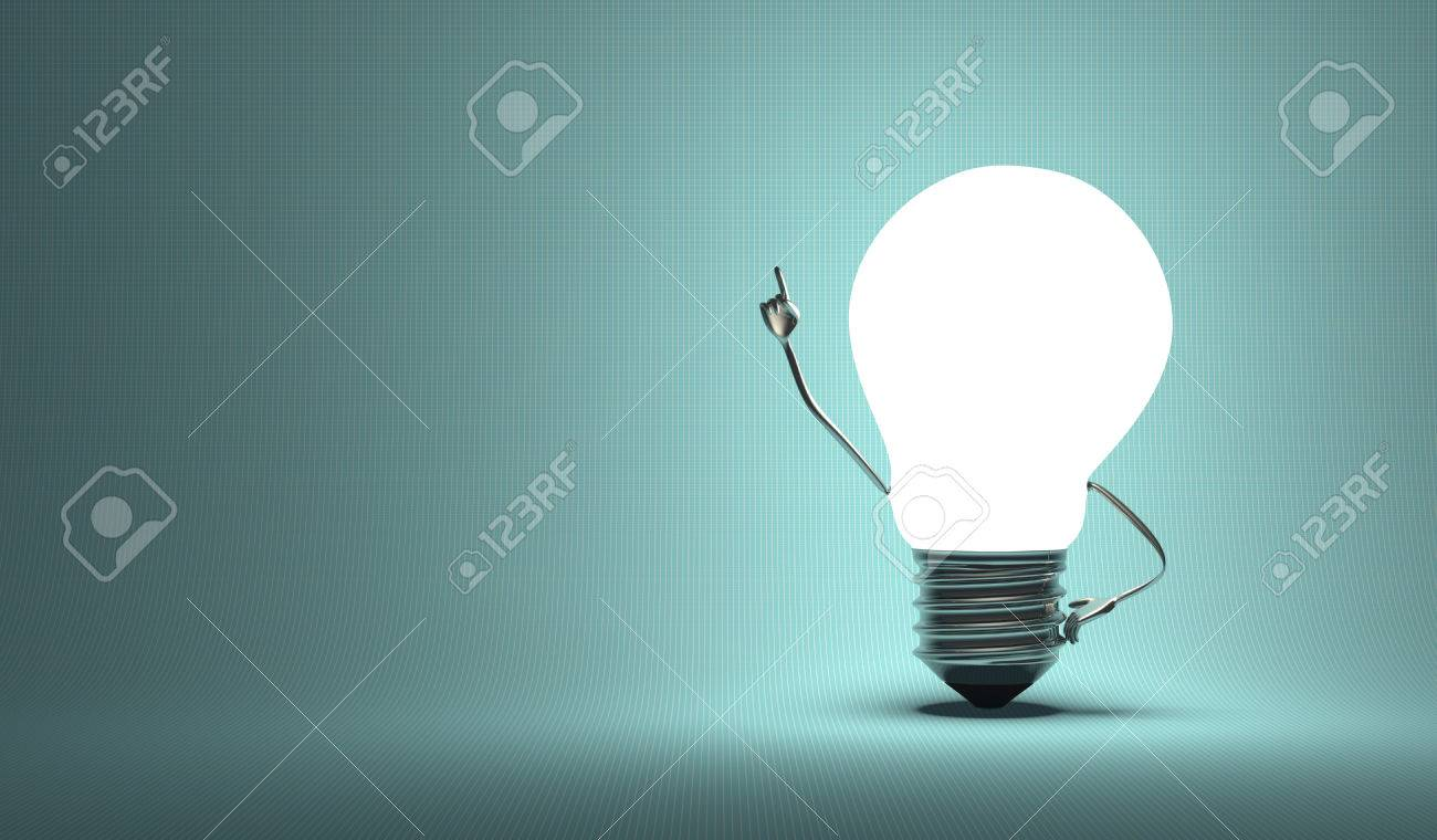 Glowing light bulb character in aha moment on squared blue background - 34894892