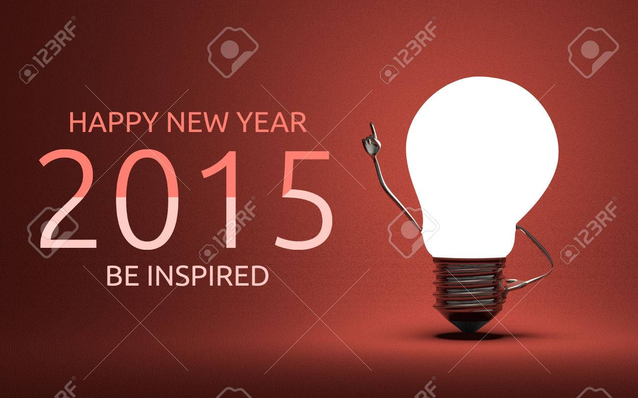 Happy New Year 2015 And Be Inspired Greeting Card Light Bulb