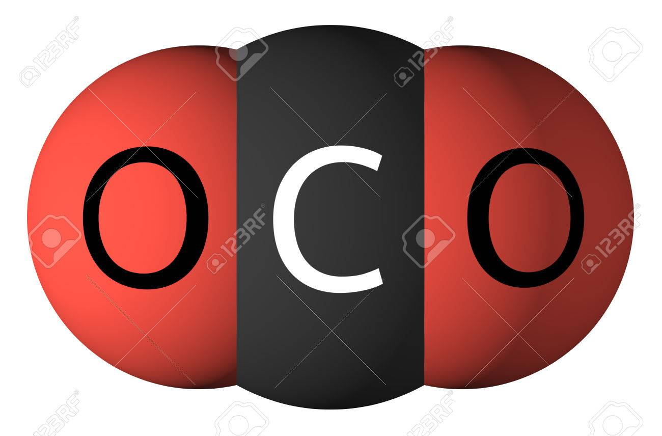 Carbon dioxide molecule isolated on white. Oxygen - red, carbon - black - 35894176