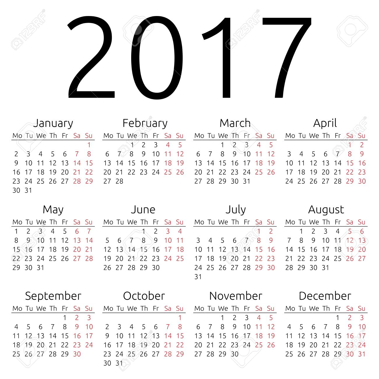 Simple 2017 year calendar, EPS