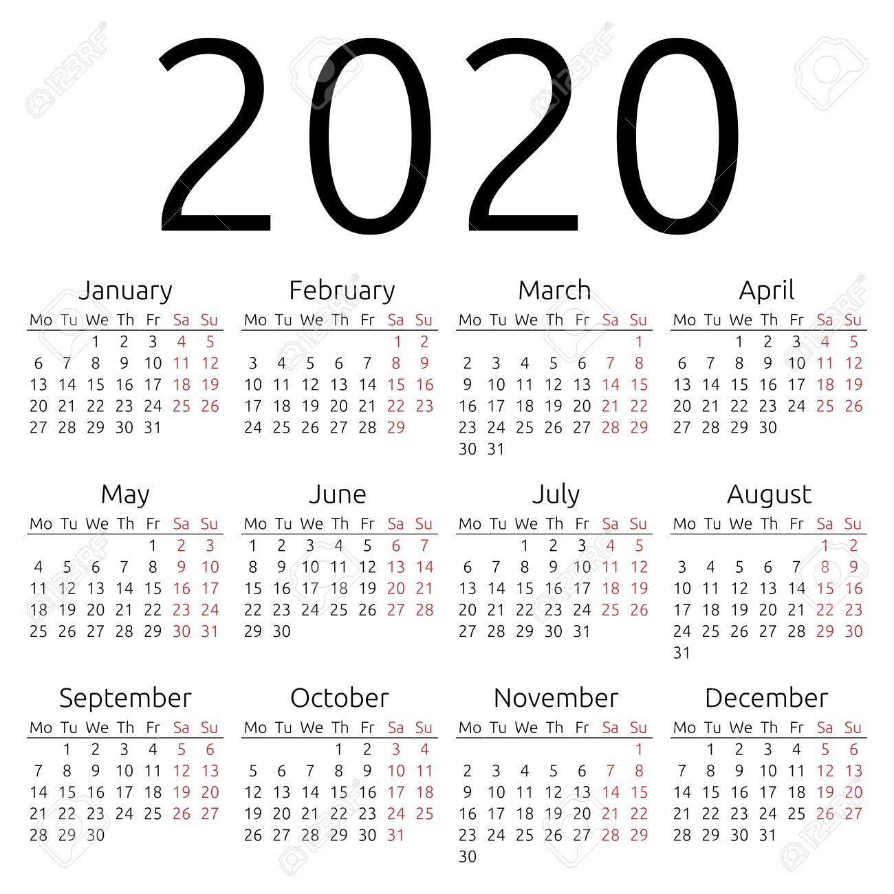Simple 2020 year calendar - 38478895