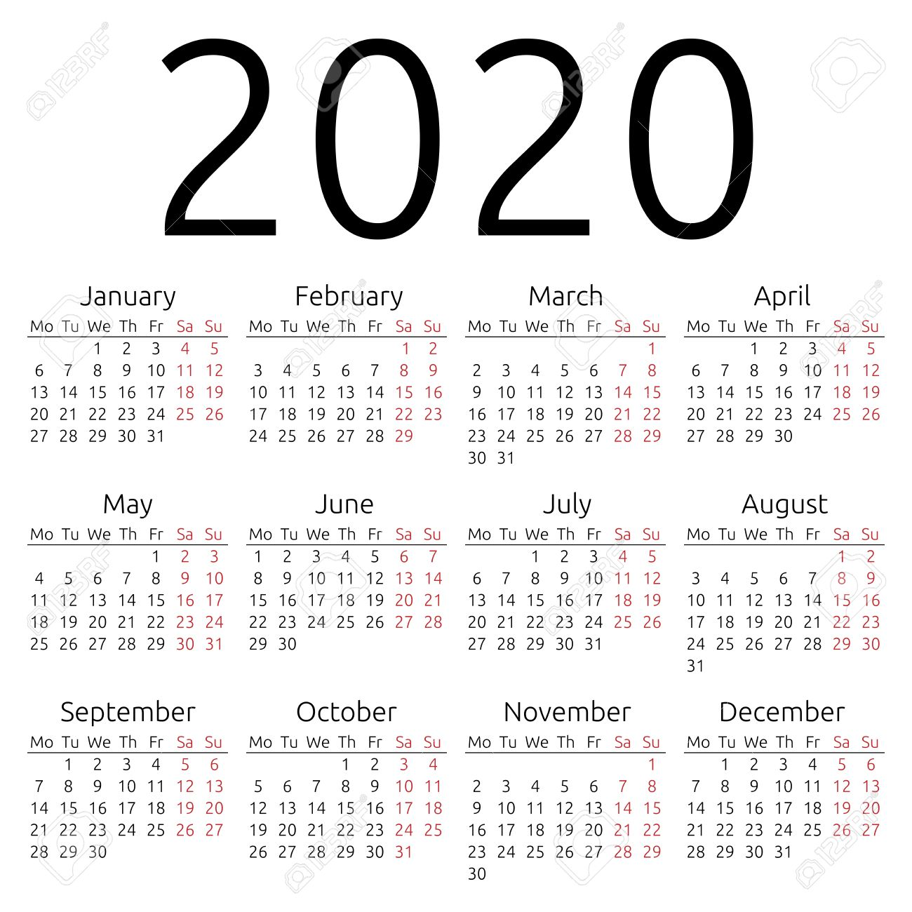 Calendar 2020 Year Simple 2020 Year Calendar Royalty Free Cliparts, Vectors, And