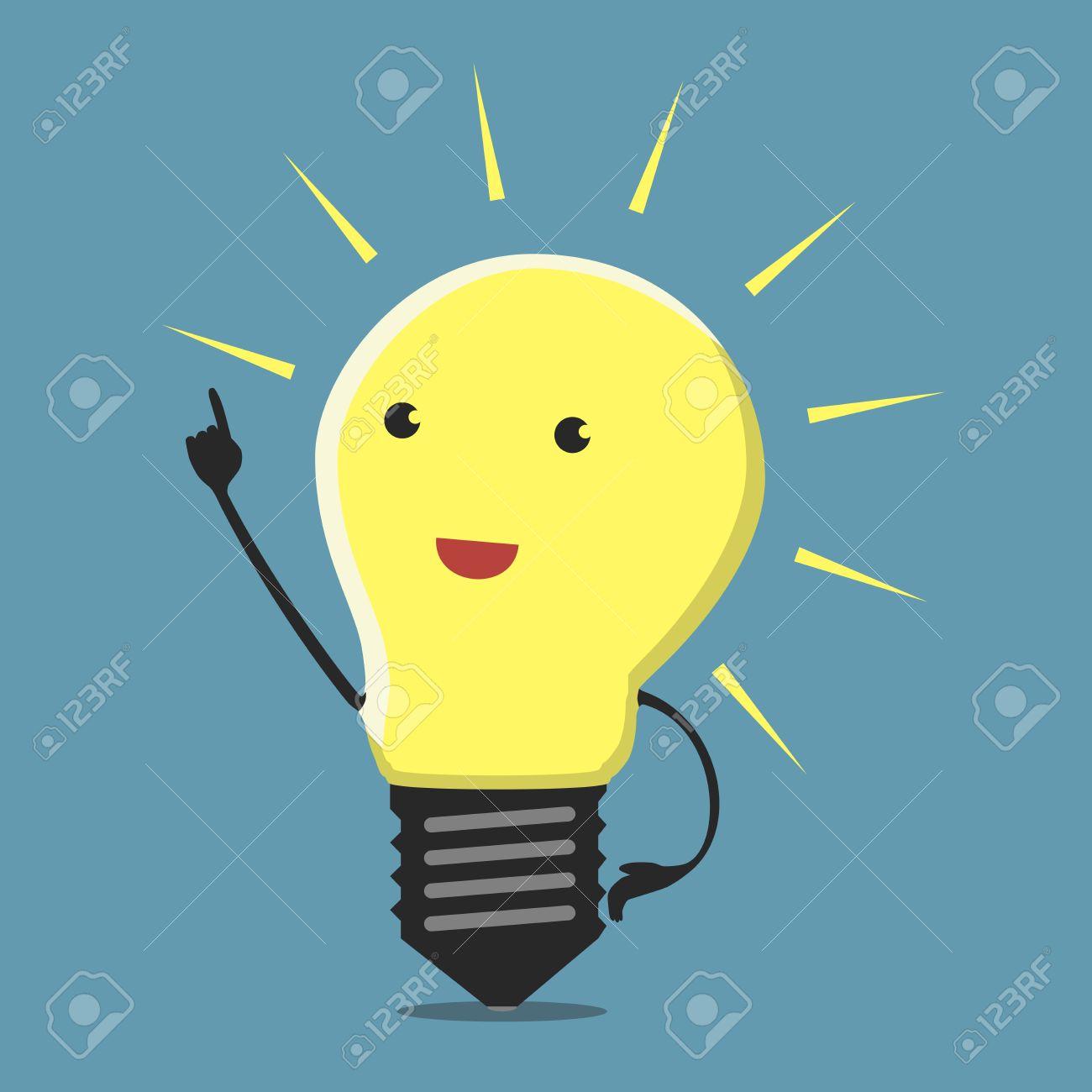 Inspired light bulb character, aha moment - 38478901
