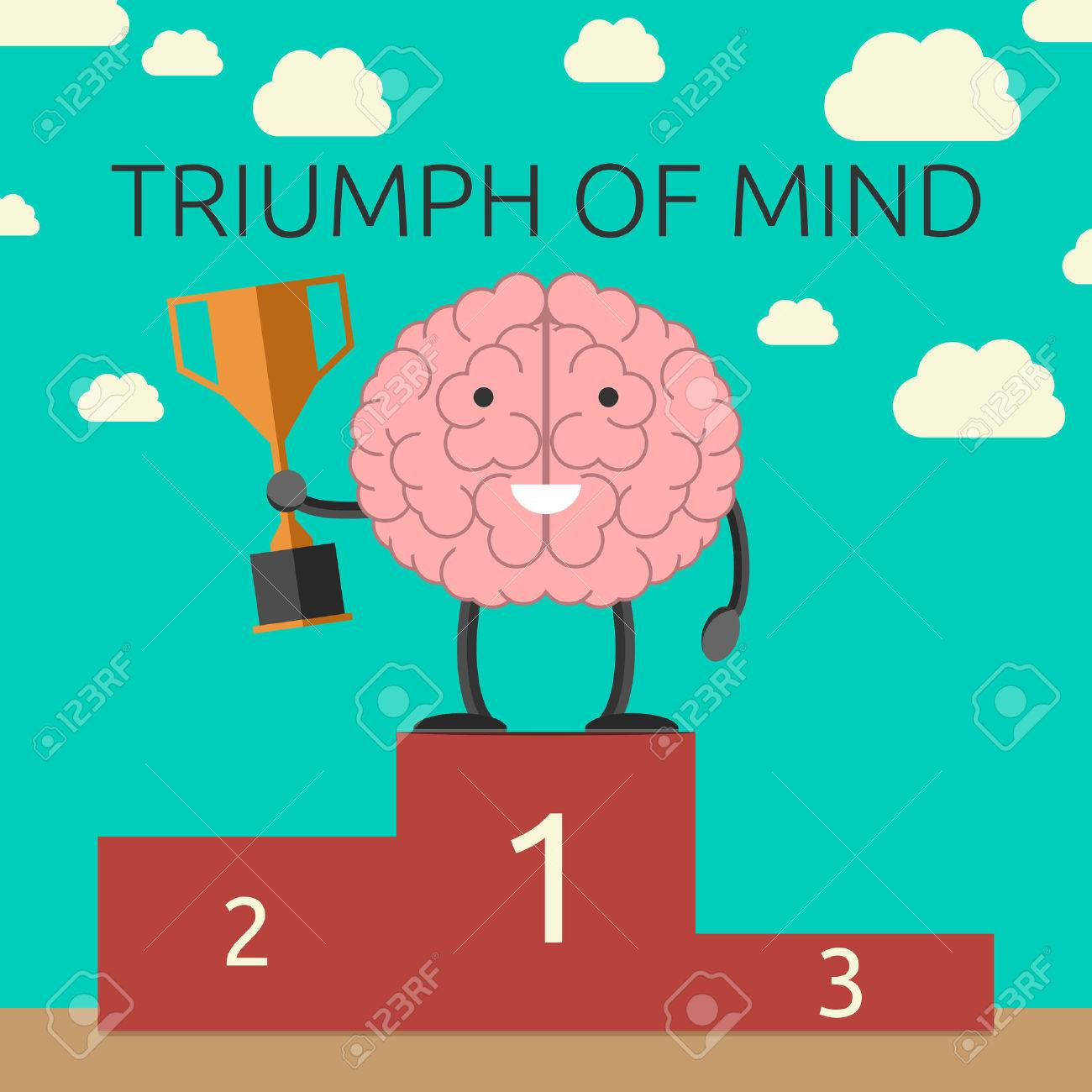 Brain character with winner cup on sports victory podium. Strong mind, success, rational thinking, will power concept. EPS 10 vector illustration, no transparency - 40092480