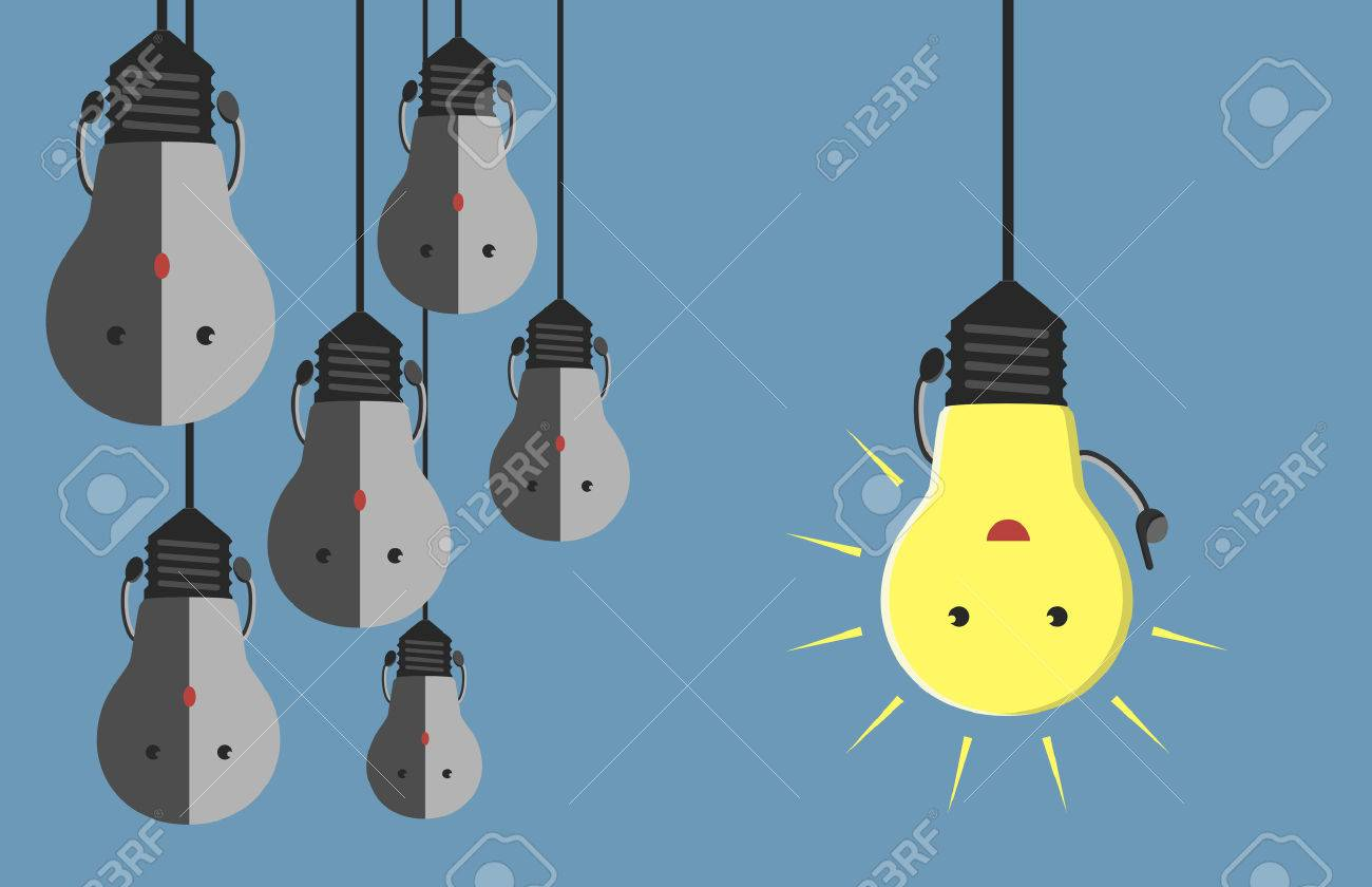 Inspired glowing light bulb character in moment of insight hanging beside many gray dull ones. Innovation, motivation, insight, inspiration concept. - 40964305