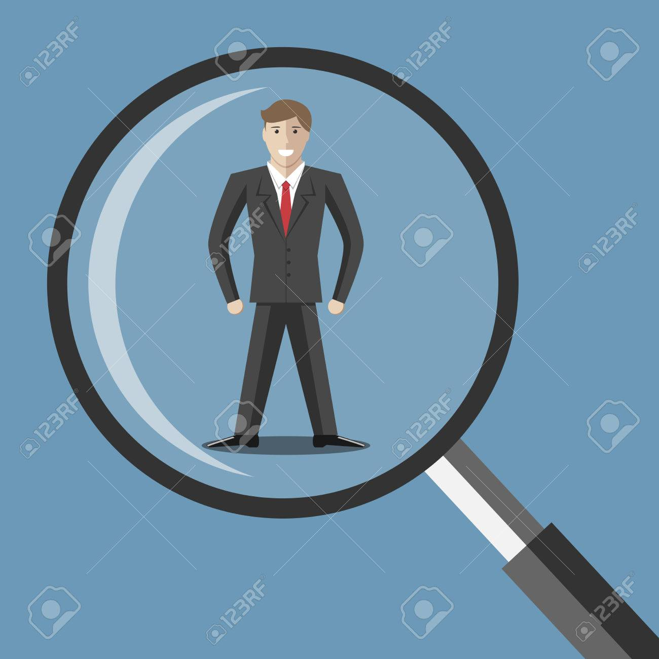 Young man under magnifying glass. Choice selection hiring analysis interview employee job staff recruitment concept. EPS 10 vector illustration transparency used - 41126773