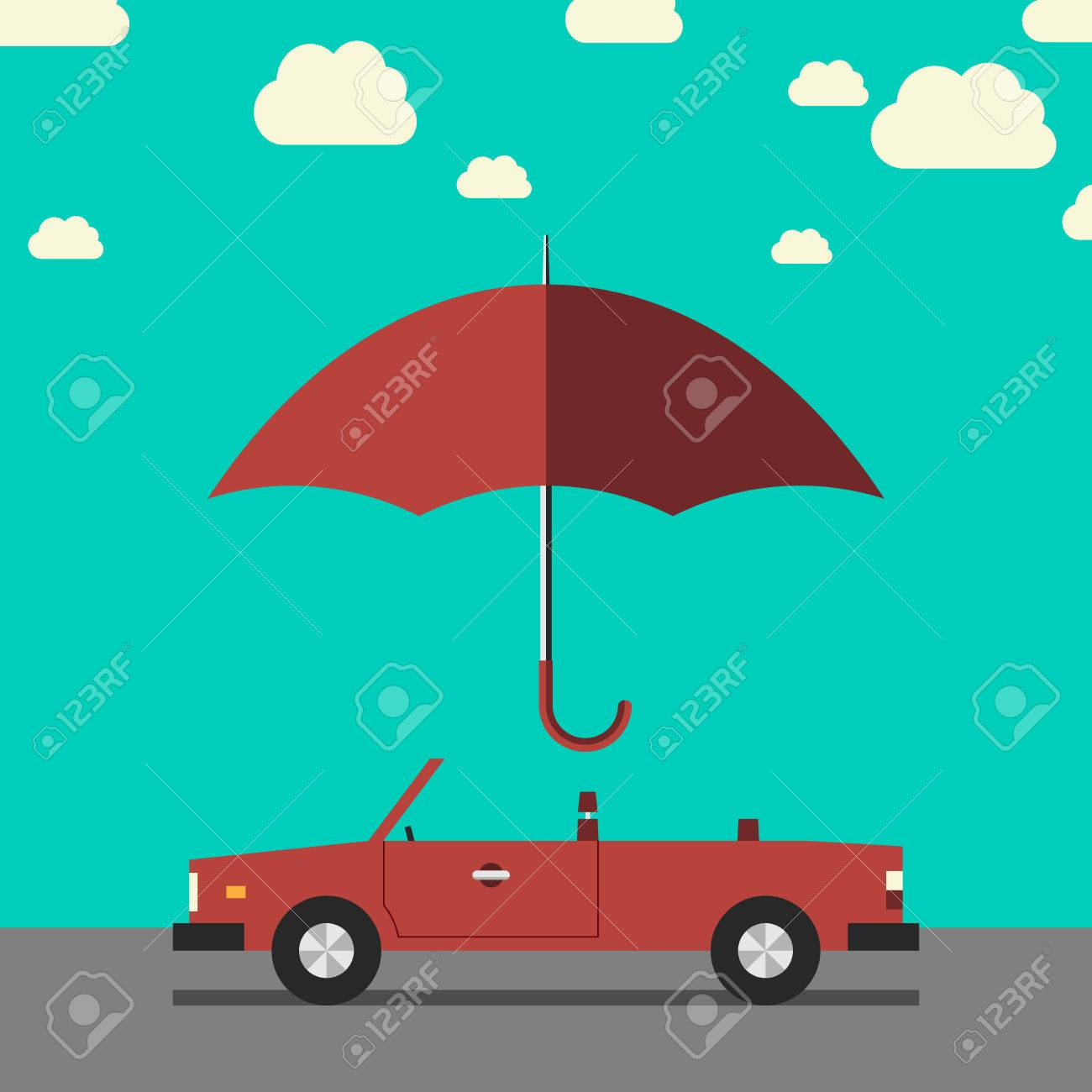 Empty red retro cabriolet on road under umbrella side view. Car insurance protection safety concept. EPS 10 vector illustration no transparency - 41126785