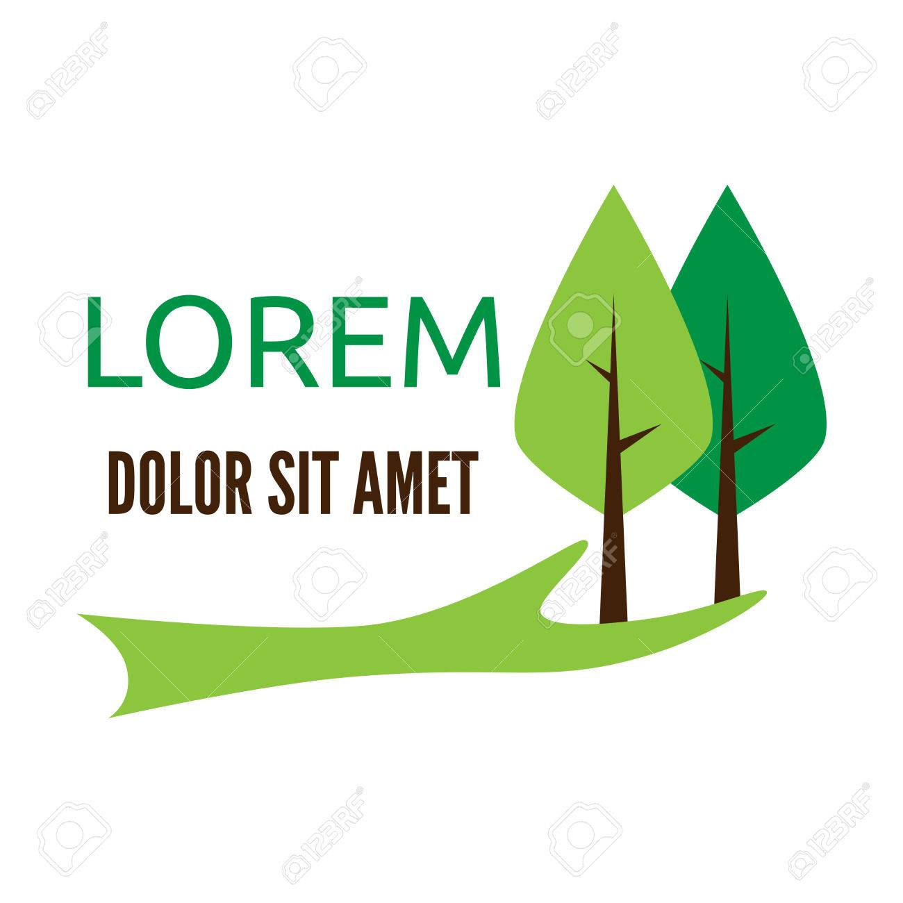 Green hand holding two trees logo template