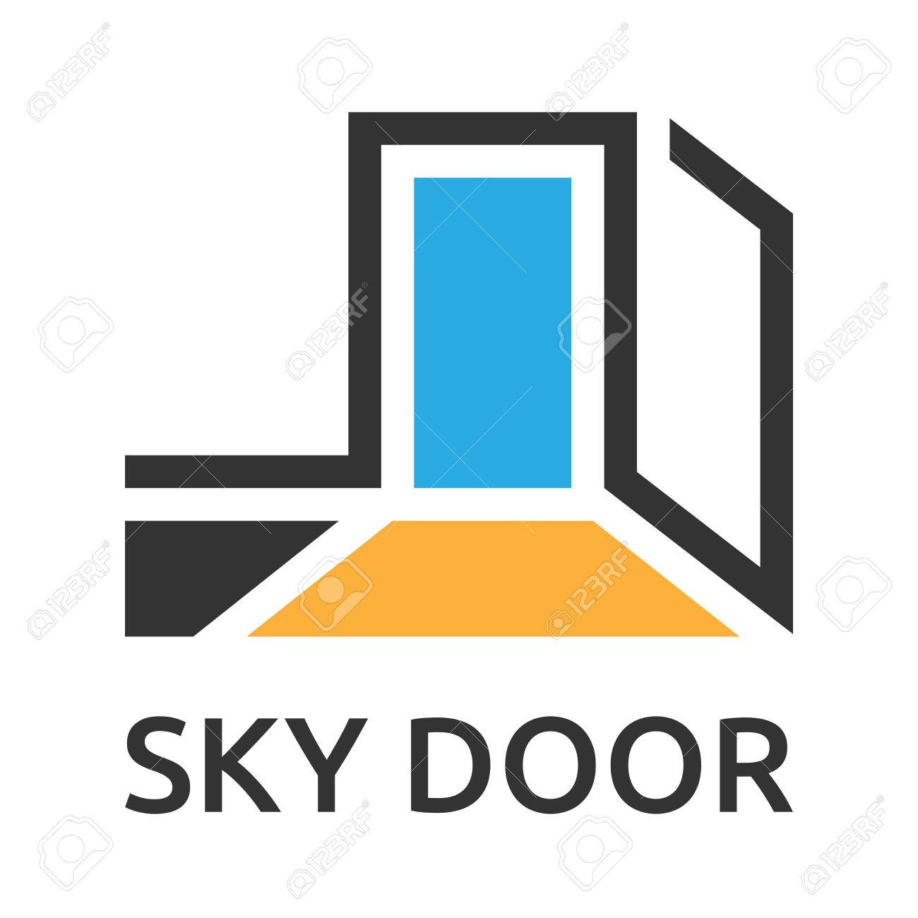 Abstract stylized door to sky logo template. EPS 10 vector illustration, no transparency - 45092383