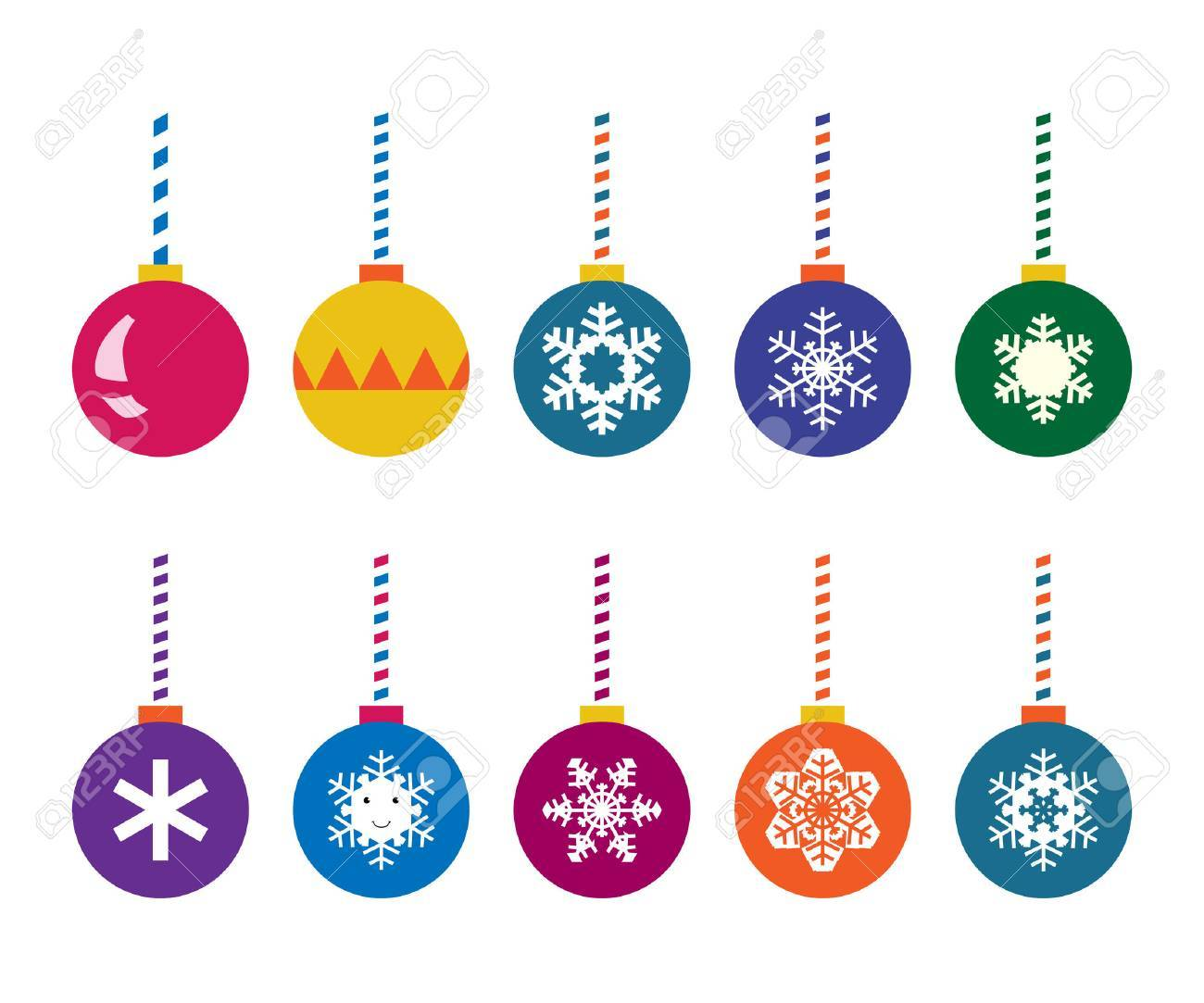 Christmas balls set. Multicolor, with snowflakes and designs. vector illustration, no transparency - 48297095