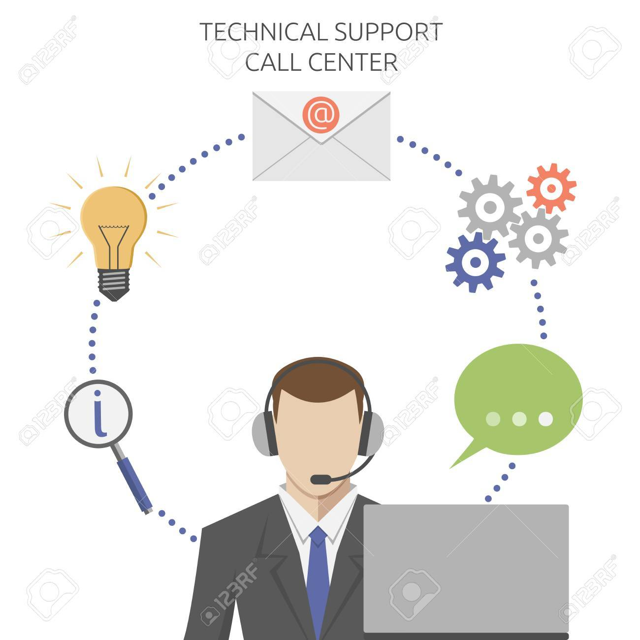 Man working in technical support call center, flat style. EPS 8 vector illustration, no transparency - 49484400