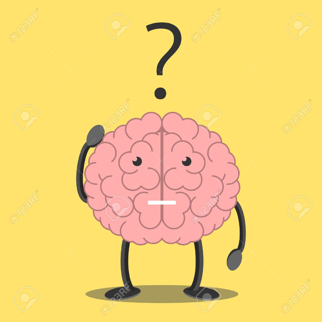 Confused brain character scratching head in bewilderment and question mark. Memory, problem, task, solution, science, creativity, imagination concept. - 50633765