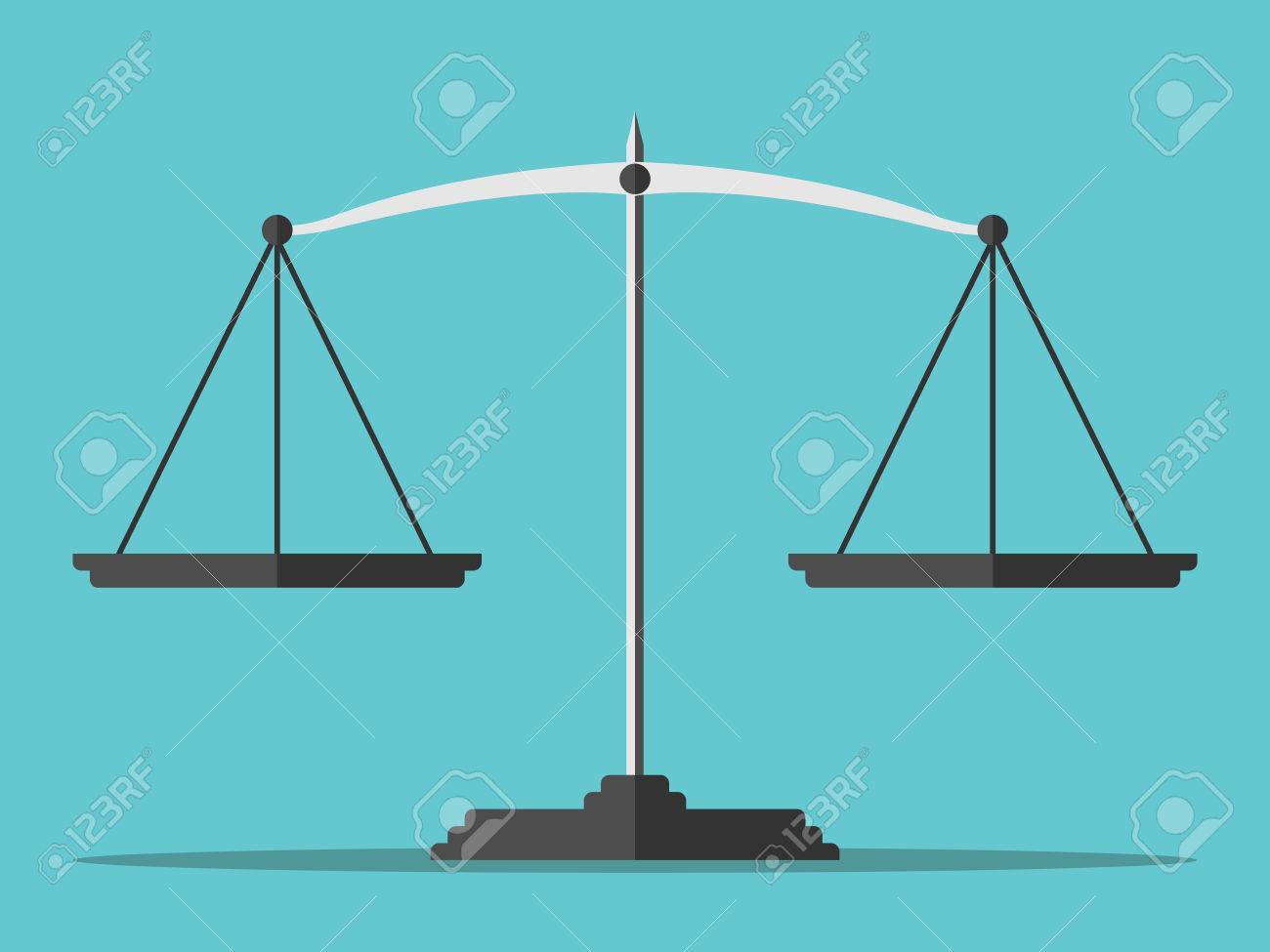 Empty scales on blue background. - 51635626