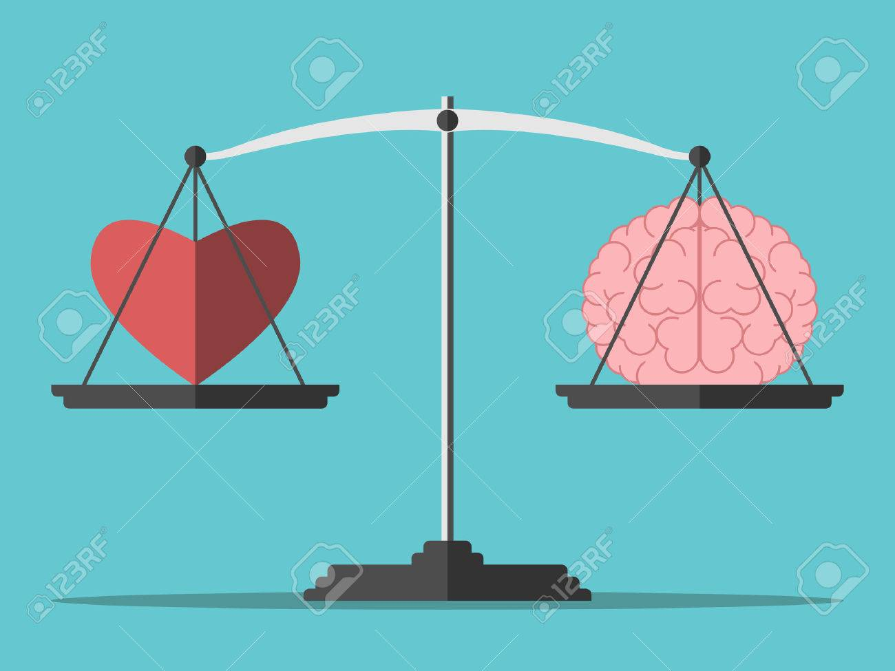 Heart and brain on scales. - 51636535