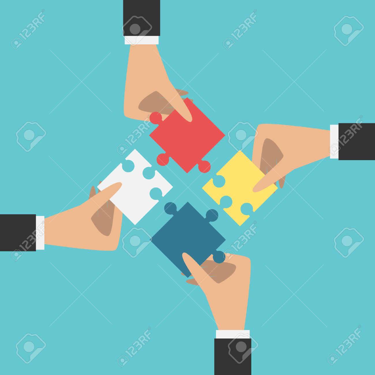Four hands putting multi color puzzle pieces together. - 51637118