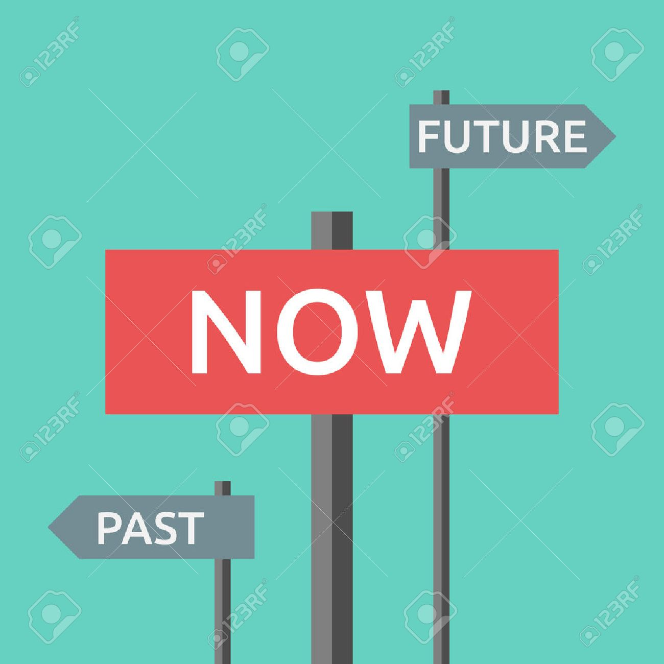 Road signs with words now, past and future. Focus on present, life, destiny, harmony, motivation, success, concentration, aging concept. EPS 8 vector illustration, no transparency - 52247579