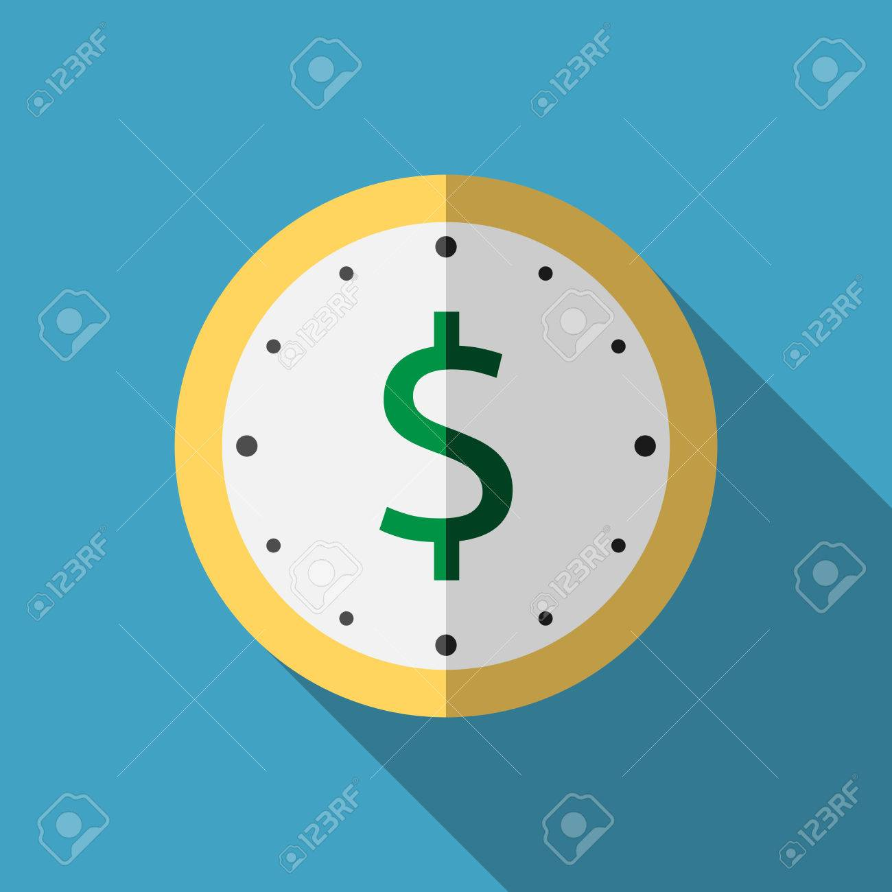 Golden clock with green dollar sign on its dial  Flat style icon