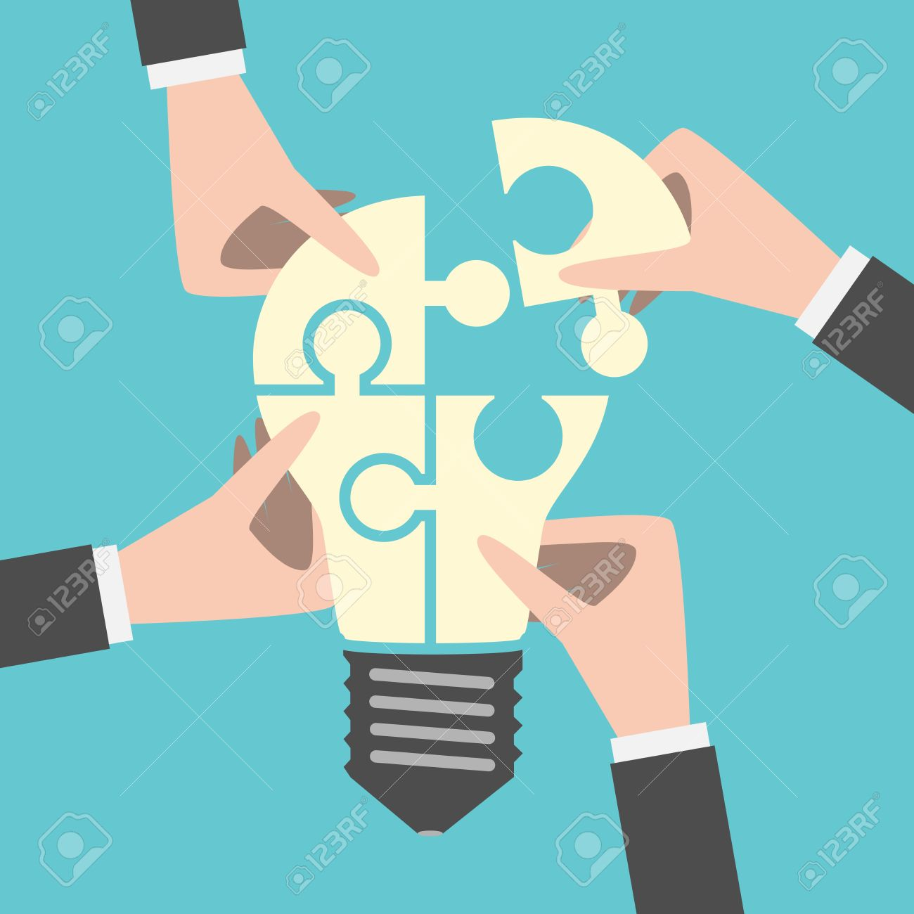 Four hands putting together light bulb shaped puzzle. Teamwork, team, idea, business, solution, creativity concept. Flat style. - 53685079