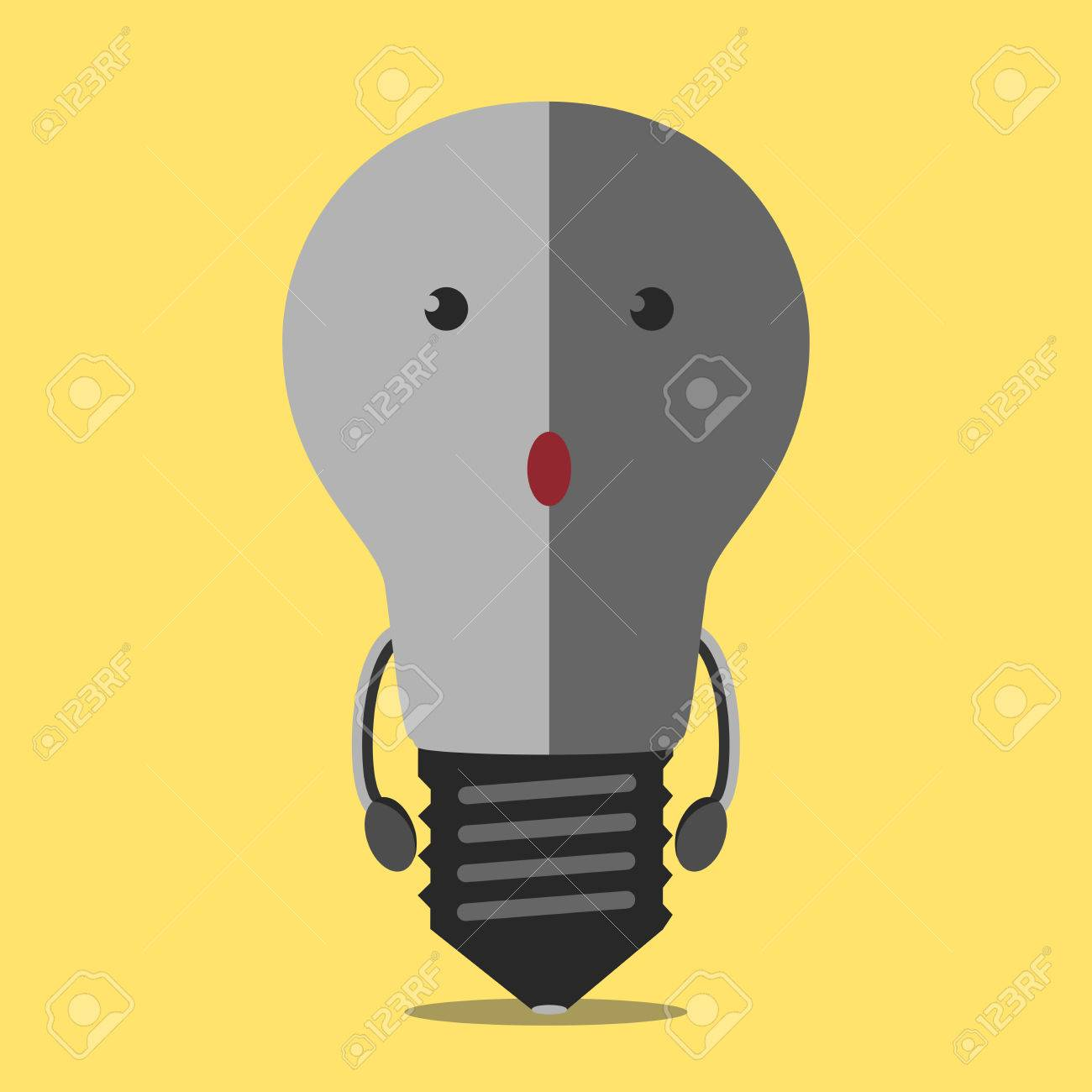 Turned off burned dull gray light bulb character on yellow. Light bulb, idea, creativity, crisis, power outage, failure, energy concept. - 53685085