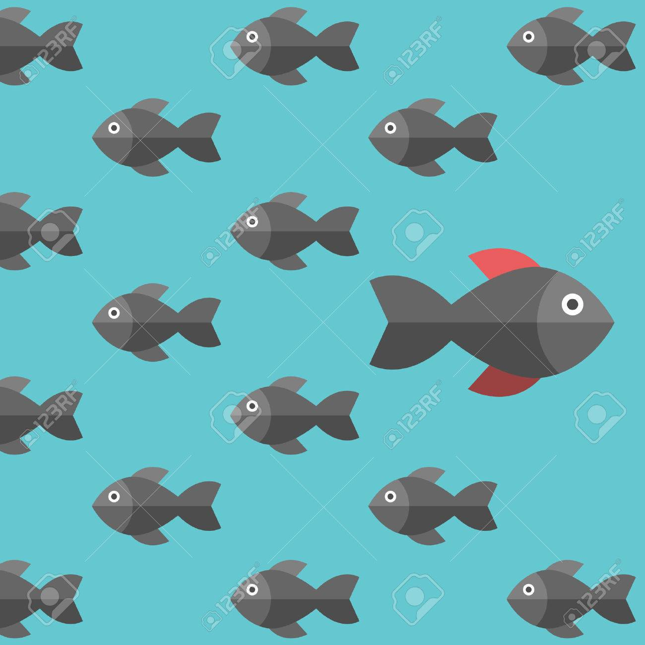 One unique different fish swimming opposite way. Businessman, risk, courage, confidence, success, crowd and creativity concept - 56597787